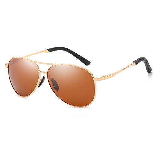 Polarized Aviator Sunglasses for Men and Women-100 UV Protection Mirrored Lens -Metal Frame with Spring Hinges (Gold Frame Brown Lens)