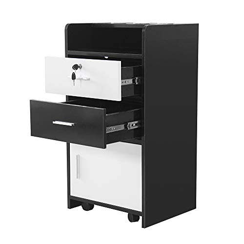 Classic Wall Mount Styling Station Barber Beauty Salon Spa Lockable Equipment Cabinet (Black& white)