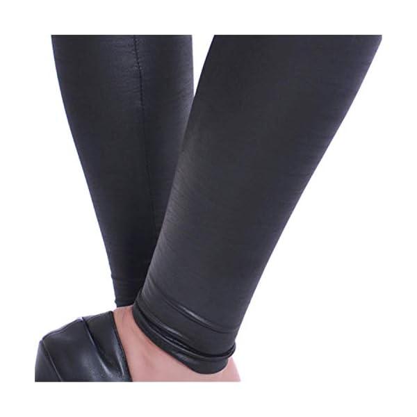 Keybella Legging en cuir synthétique à taille haute pour femme