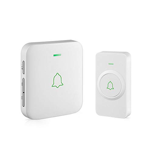 Wireless Door Bell, AVANTEK CW-11 Mini Waterpoof Doorbell Chime Operating at 1000 Feet with 52 Melodies, 5 Volume Levels & LED ()
