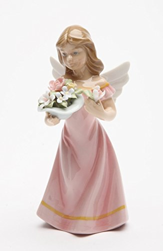 (Cosmos Gifts 20861 Angel in Pink Dress Holding Flowers Ceramic Figurine, 5-3/8-Inch)