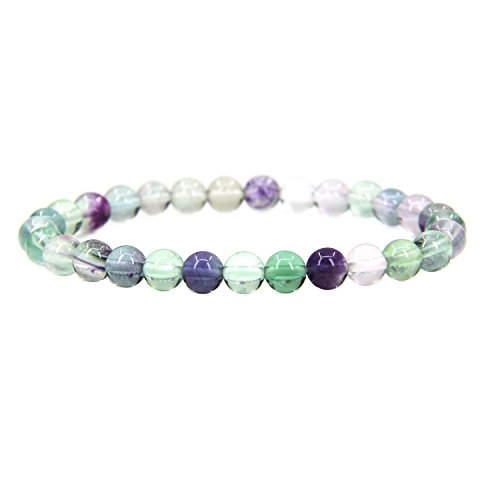 Amandastone Natural AAA Grade Clear Fluorite Gemstone 6mm Round Beads Stretch Bracelet 7
