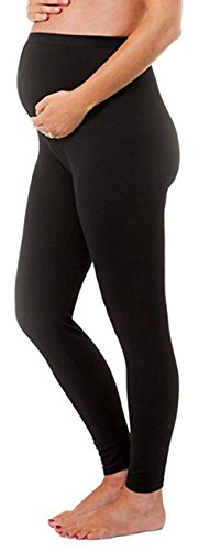 Solid Stretch Leggings By Touch Me (One Size Fits All, Black Maternity Leggings)