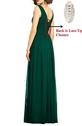 Neck Bridesmaid Women's Line V A Miao Slit Evening Long Hunter Dress Duo Chiffon Dress XqBxa