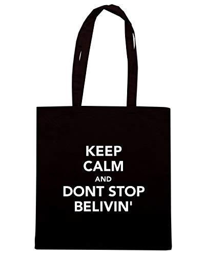 Speed Shirt Borsa Shopper Nera TKC2478 KEEP CALM AND DONT STOP BELIVIN