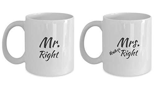 Mr. Right and Mrs. Always Right Coffee Mug Gift Set for Wedding, Engagement or Anniversary - Mr Right Mrs Always Right Tumbler