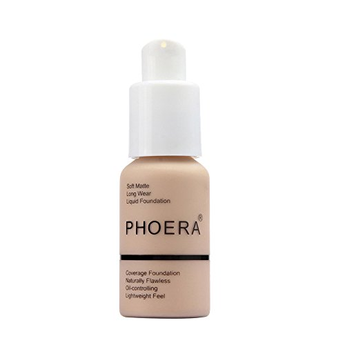 New 30ml PHOERA Matte Oil Control Concealer Liquid Foundation Cream Long Lasting Waterproof Cover Full Coverage Soft Brighten Long Wear Lightweight Feel Naturally Flawless All Day (102) (Best Foundation For Coverage 2019)