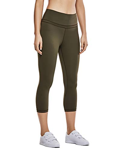 CRZ YOGA Women's Naked Feeling High Waist Crop Tight Yoga Capri Pants Workout Leggings-19 Inches Dark Olive 19