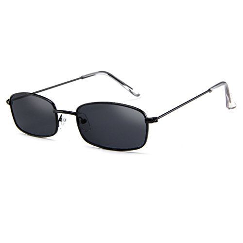 Armear Vintage Small Sunglasses Women Men Retro Square Acrylic Lens (Black/smoke, 50)