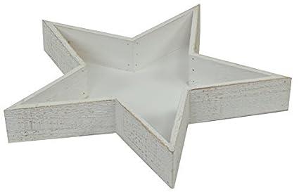 Estrella Madera Vintage Bandeja -40cm-Blanco FLOJO - Estilo Rústico Shabby Chic Tableta Decorativa