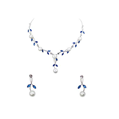 Faship Gorgeous Blue CZ Crystal Freshwater Pearls Floral Necklace Earrings Set - Blue