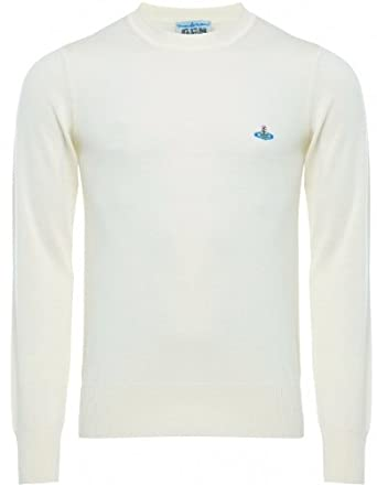 522e7e2601 Vivienne Westwood Man Men's Sweater Cream Merino Wool Crew Neck Jumper S