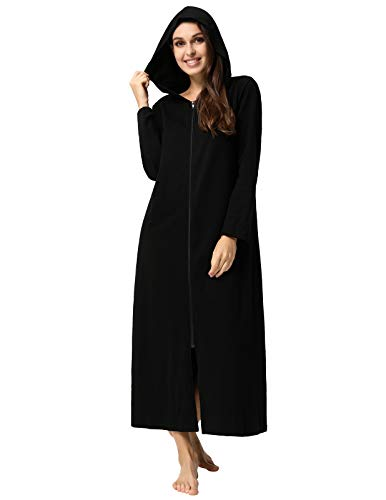(Cotton Robes for Women Lightweight Zipper Front Hooded Loungewear Black L )