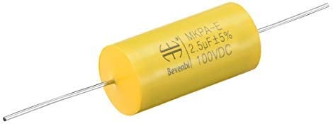 NA 100V DC 2.5uF Film Capacitor Round axial Polypropylene Film Capacitor for Audio Splitter Yellow