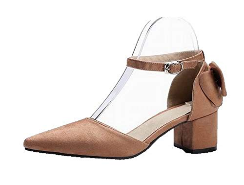 CCALP015580 Buckle VogueZone009 Imitated Sandals Suede Heels Toe Closed Brown Low Women q6HfF