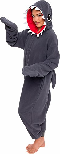 Cozy Shark Adult Costumes (Silver Lilly Unisex Adult Pajamas - One Piece Cosplay Shark Animal Costume (L))