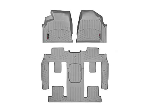 WeatherTech Custom Fit FloorLiner - 462511-469423 - 1st Row, 1-Piece 2nd/3rd Row (Grey) (Floor Weathertech Buick For Mats)