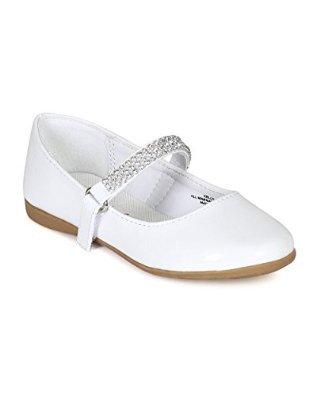 Little Angel CA03 Patent Leatherette Round Toe Rhinestone Mary Jane Ballerina Flat (Toddler/Little Girl/Big Girl) - White (Size: Little Kid 11)