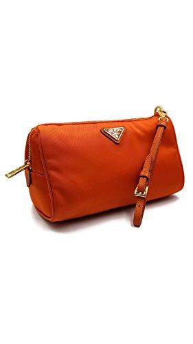 Prada Nylon Saffiano Leather Cosmetic Clutch Bag Purse by Prada