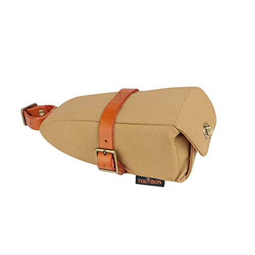TOURBON Canvas and Leather Strap-On Bike Saddle Bag Bicycle Seat Pack Bag (Khaki)