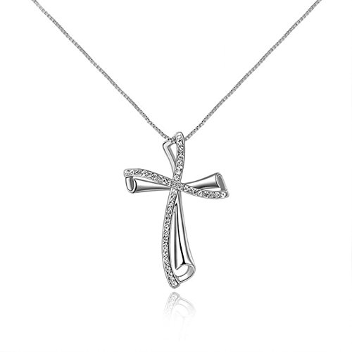"I's Fashion Jewelry Rose Gold/White Gold Plated ""Love, Hope, Peace"" Cross with Austrian Crystal Charm Pendant Necklace for Women(white gold)"