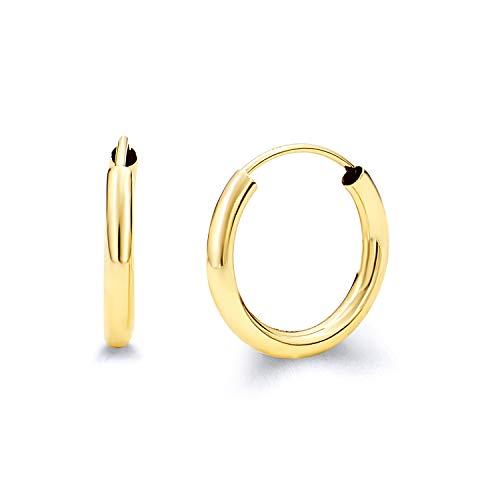 2mm Small Hoop Earrings - 14k Yellow Gold 2mm Thickness Endless Hoop Earrings (15 x 15 mm)
