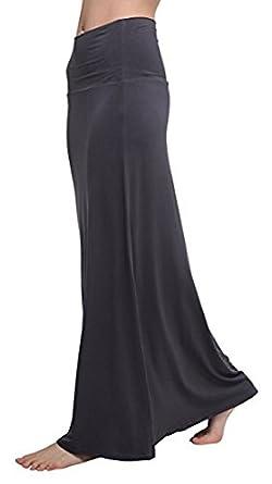 Urban CoCo Women's Stylish Comfy Fold-Over Long Maxi Skirt Bingo E-Commerce