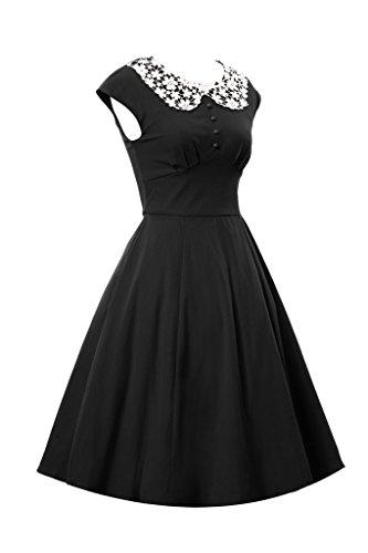 Eyekepper de las mujeres con clase Audrey Hepburn de la vendimia del estilo del vestido de noche 1940s Rockabilly Negro