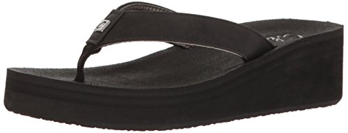 Cobian Women's Dove Wedge Flip Flop, Black, 8 M US
