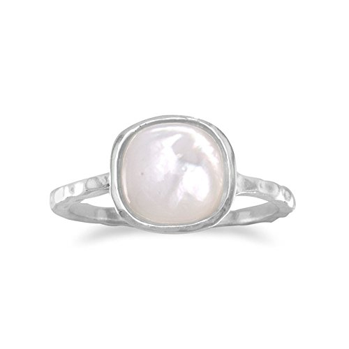 Stackable Ring Mother of Pearl Sterling Silver Textured, 9