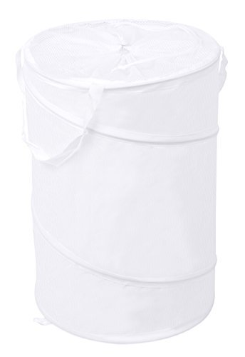 Internet's Best Circle Pop Up Laundry Hamper | Collapsible Laundry Bag with Mesh Drawstring Lid | Carry Handles | Dirty Laundry Sorter Basket | White
