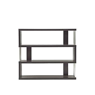Baxton Studio Barnes 3-Shelf Modern Bookcase, Dark Brown