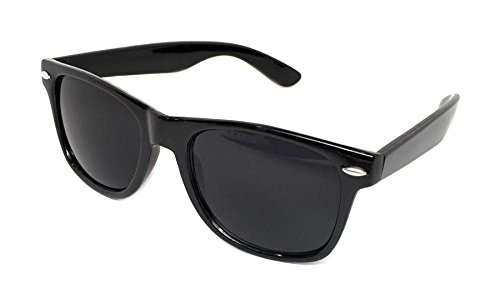 WebDeals Retro - Sunglasses Classic 80's Vintage Style Design Polarized or Standard Lens (Black Gloss, Super Dark)...