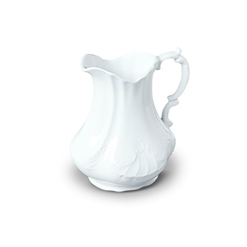 Pure White Porcelain Scrolled Pitcher for Water, Juice, & Milk, 7