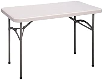Correll CP2448 Light Weight Economy Blow-Molded Plastic Folding Table, 24×48 , Gray Granite