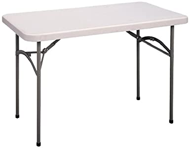 Correll CP2448 Light Weight Economy Blow Molded Plastic Folding Table,  24x48u0026quot;, Gray