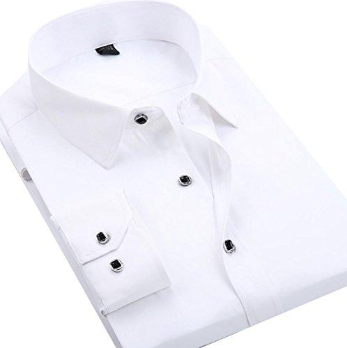 Cutaway Collar Fitted Shirt - WSPLYSPJY Men Casual Cutaway Collar Long Sleeve Slim Fit Solid Dress Shirts White M