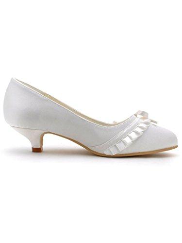 Elegantpark - Zapatos de Vestir de satén Mujer marfil