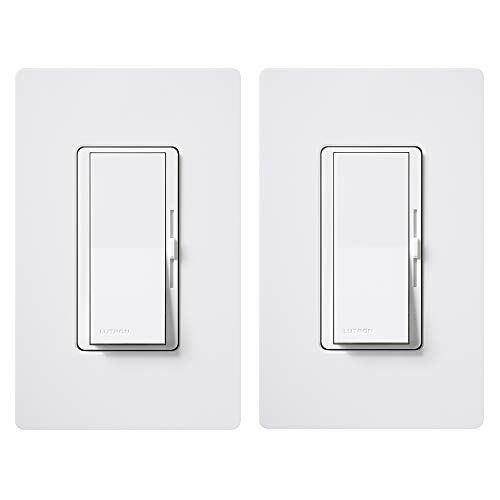 Lutron DVWCL-153PH-2-WH Diva 150-Watt Single Pole/3-Way LED/CFL Dimmer with Wallplate (2 Pack), - Switch Rocker Mirrors Bathroom