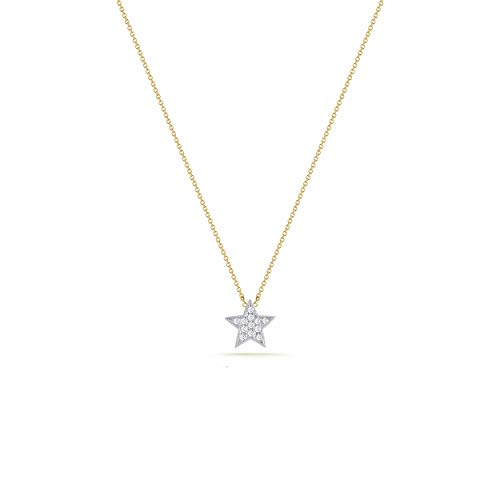 Dremmy Tiny Charm Silver Star Necklace,Gold and Silver Plated Two-Tone Geometric Pendant Necklaces for Women