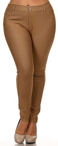 EPYA Women's Plus Size Basic 5 pocket colored Jean Leggings, Khaki, XL