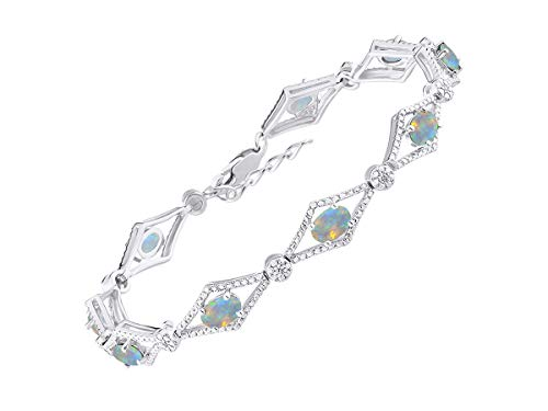 (Stunning Exotic Ethiopian Opal & Diamond Tennis Bracelet Set in Sterling Silver - Adjustable to fit 7