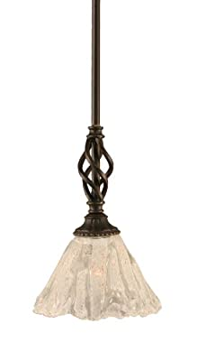 Toltec Lighting 80-DG-7195 Eleganté Mini-Pendant Dark Granite Finish with Italian Ice Glass, 7-Inch