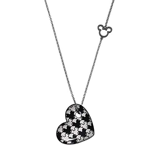 D-Fashion-x Disney Official Mickey Mouse Signature Heart Stainless Steel Necklace Jewelry for Women & Girls]()