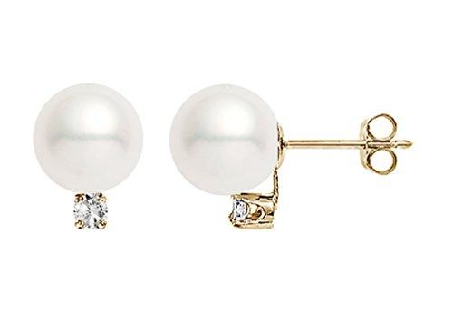 14k Yellow Gold AAA Quality Japanese Akoya Cultured Pearl Diamond Stud Earrings (7-7.5mm)