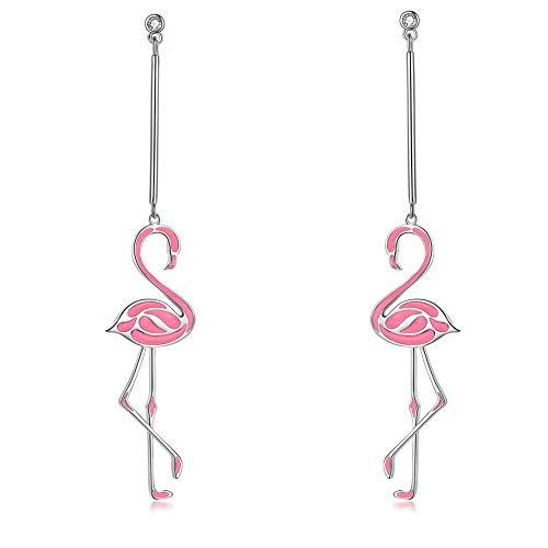 Pink Enamel Flamingo Earrings Fashion Dangle Wedding Long Earrings Party Jewelry