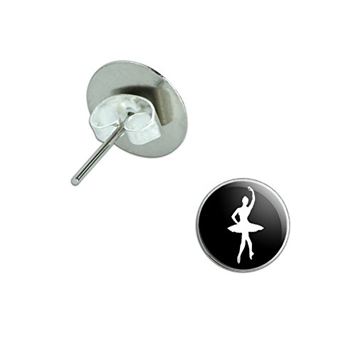 (Ballet Ballerina Novelty Silver Plated Stud Earrings)