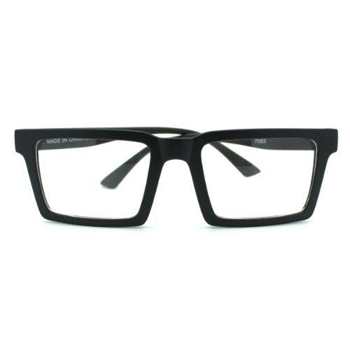 Matte Black Square Geometric Trendy Clear Lens Eye