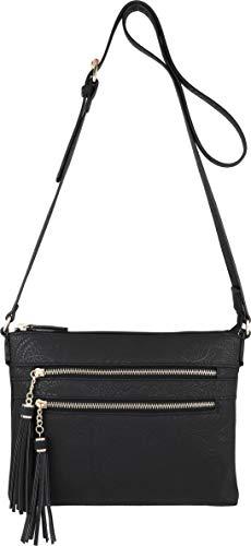 Multi Purse Handbag Crossbody Zipper Black Tassel B Accents with BRENTANO Vegan Fl EnWHqSOp