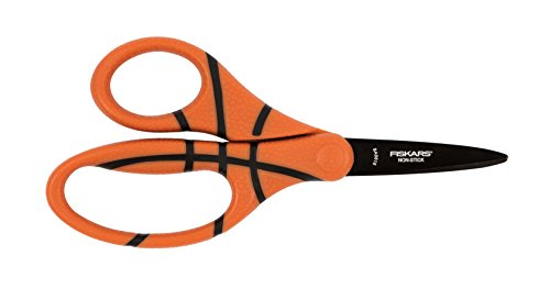 Fiskars 5 inch MVP Non-Stick Kids Scissors Pointed-Tip, Basketball Craft Lite Cutter